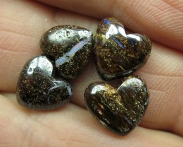 O/L 11cts.4 X DRILLED LOVELY HEART BOULDER OPALS.