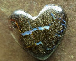 "24cts.""BOULDER OPAL~HEART SHAPE & DRILLED"""