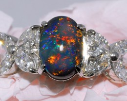 BLACK OPAL SET IN PLATINUM RING