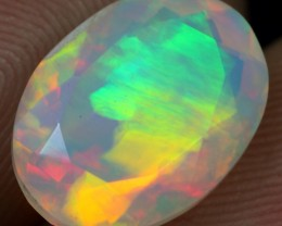 FACETED 3.50cts BRUSH RAINBOW FIRE Natural Ethiopian Welo Opal