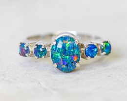 AmazingTriplet opal Cluster set in Silver Ring Size  10 PL 1211