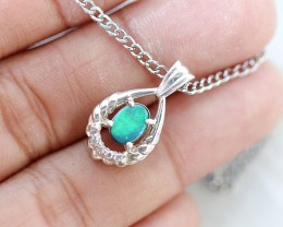 BRIGHT DOUBLET OPAL SILVER  PENDANT WITH CZ PL734