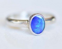 Opal Doublet Ring - Silver - Size 8.5 (OR1)