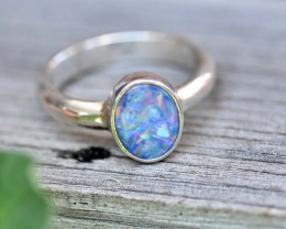 Opal Doublet Ring - Silver - Size 8.5 (OR2)