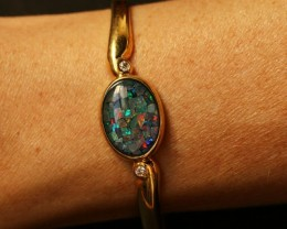 Beautiful MosaicTYriplet  Opal Bangle CF 1362