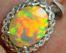ONE AND ONLY 1.89grm HANDMADE 925 Solid Silver Facet Opal Pendant