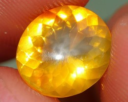 1.40 CRT FIRE OPAL FACETED STUNNING YELLOWISH FLASH INDONESIAN OPAL