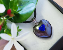 Lovers opal inlay Heart Pendant  SU 10