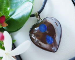 Lovers opal inlay Heart Pendant Su 12