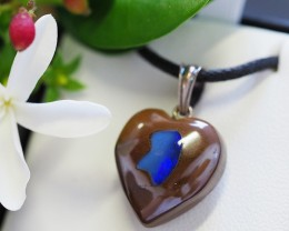 Lovers opal inlay Heart Pendant Su 14