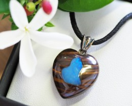 Lovers opal inlay Heart Pendant Su 15