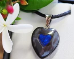 Lovers opal inlay Heart Pendant Su 16