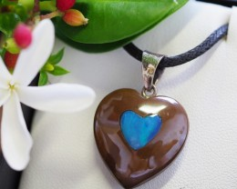 Lovers opal inlay Heart Pendant Su 17