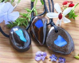 Three Beautiful large  opal inlay  Pendants SU 53