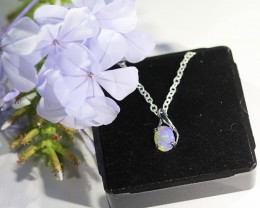 Cute Crystal Opal set in sterling 18k white gold pendant SU 85