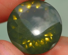 5.15 CRT FIRE OPAL FACETED GREEN COLOR CLEAR BASE INDONESIAN OPAL