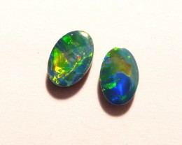 Pretty pair of Australian Opal Doublets 6x4mm Gem Grade (3023)