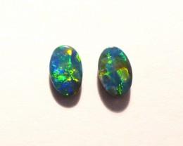 Pretty pair of Australian Opal Doublets 6x4mm Gem Grade (3022)