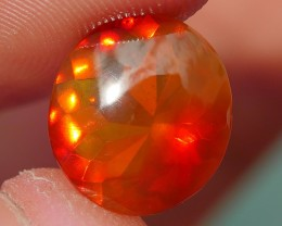 2.00 CRT FIRE OPAL FACETED BEAUTY BROWN RED COLOR INDONESIAN OPAL