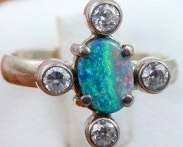 6.5 SIZE  FIREY OPAL  DOUBLET RING SILVER WITH CUBIC ZICONIA [SOJ6311]