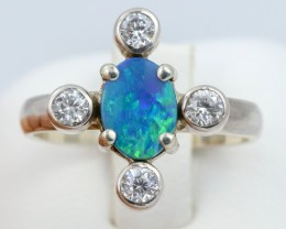 6.5 SIZE  FIREY OPAL  DOUBLET RING SILVER WITH CUBIC ZICONIA [SOJ6312]