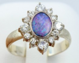 8 SIZE  FIREY OPAL  DOUBLET RING SILVER WITH CUBIC ZICONIA [SOJ6318]