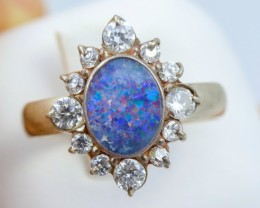 8 SIZE  FIREY OPAL  DOUBLET RING SILVER WITH CUBIC ZICONIA [SOJ6319]