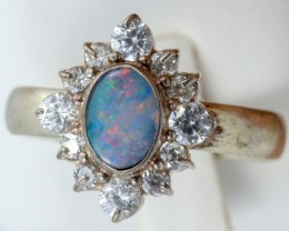 8 SIZE  FIREY OPAL  DOUBLET RING SILVER WITH CUBIC ZICONIA [SOJ6321]