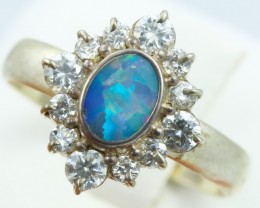 8 SIZE  FIREY OPAL  DOUBLET RING SILVER WITH CUBIC ZICONIA [SOJ6322]
