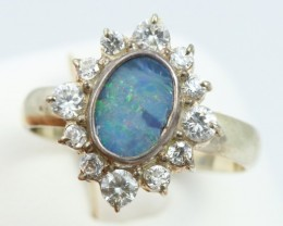 9 SIZE  FIREY OPAL  DOUBLET RING SILVER WITH CUBIC ZICONIA [SOJ6323]