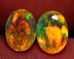 8X6 MM TOP GEM! BEAUTIFUL FLASHY MULTI COLOR FACETED OPAL PAIR -AC187