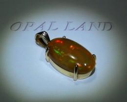 18.20 ct Stunning Gold Pendant 14k Natural Gem Rainbow Color Welo Opal
