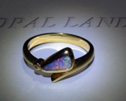 19.0 ct Gold Ring 18k Natural Gem Rainbow Color Boulder Opal