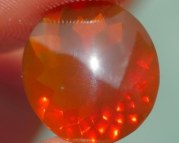 2.30 CRT FIRE OPAL FACETED BROWN RED COLOR INDONESIAN OPAL