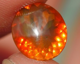 1.00 CRT FIRE OPAL FACETED CLEAR ORANGE YELLOWISH COLOR INDONESIAN OPAL