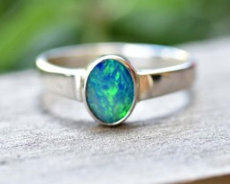 Opal Doublet Ring - Silver - Size 7 (OR3)