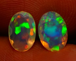 7x5 MM TOP GRADE BEAUTIFUL FLASHY MULTI COLOR ETHIOPIAN OPAL PAIR -AB383