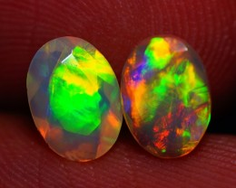 7x5 MM TOP GEM! BEAUTIFUL FLASHY MULTI COLOR ETHIOPIAN FACETED OPAL PAIR -A