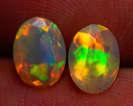 7x5 MM TOP CLASS!! EXCLUSIVE FLASHY MULTI COLOR ETHIOPIAN FACETED OPAL PAIR