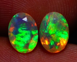 7x5 MM ROLLING FLASH! BEAUTIFUL FLASHY MULTI COLOR ETHIOPIAN FACETED OPAL P