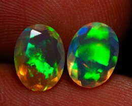 8X6 MM ROLLING FLASH! BEAUTIFUL FLASHY MULTI COLOR ETHIOPIAN FACETED OPAL P