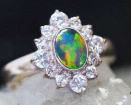 8 SIZE  FIREY OPAL  DOUBLET RING SILVER WITH CUBIC ZICONIA [SOJ6314]