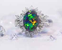 Amazing pattern Black opal stone set in platinum ring