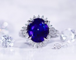 Royal blue Black opal stone set in platinum ring