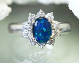 Bright 8X6mm Opal Triplet Ring silver CK 9
