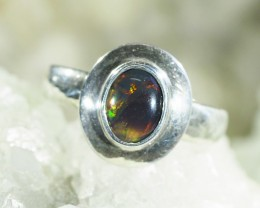 1.1cts Australia Black Opal Ring set in 925 Silver setting CK 28