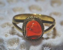Sz6 Mexican Fire Opal Solid Sterling Silver Ring & Plated Gold