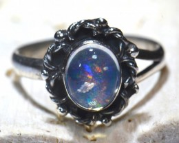 Sz7 Mexican Fire Opal Solid Sterling Silver Ring