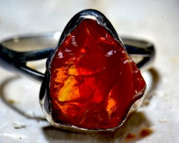 Sz7 Mexican Fire Opal Solid Sterling Silver Ring & Plated Gold