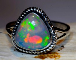 Sz7 Ethiopian Gorgeous Opal Solid Sterling Silver Ring